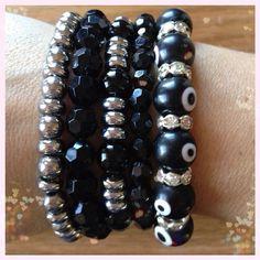 Black and silver #fun #bracelete #bracelets #accessories #fashion #outfit #lookdodia #bijuteria #armparty #moda #modabrasil #bloggers - @anainstyle- #webstagram