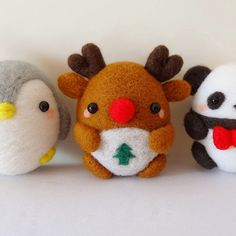 Needle Felted Felting Animals Christmas penguin Reindeer Panda Cute Handmade