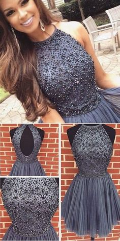 New Arrival gray Prom Dresses Sexy Open Back grey sweet 16 gowns grey Short Homecoming Dress with pearls from DestinyDress Sexy Prom Dress Grey Prom Dress Short Prom Dress Prom Dress Homecoming Dresses Homecoming Dresses 2019 Dresses Short, Hoco Dresses, Dance Dresses, Pretty Dresses, Beautiful Dresses, Luulla Dresses, Short Sweet 16 Dresses, Halter Top Prom Dresses, Halter Dress Formal