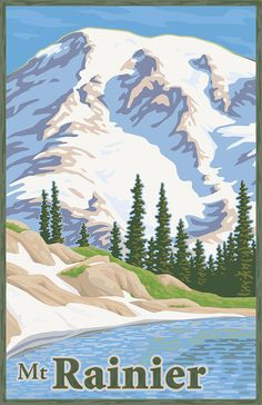 Mt Rainer vintage poster. It was great seeing this mountain in person!