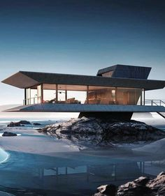 Amazing concrete, glass and steel house suspended over a beach. - Amazing concrete, glass and steel house suspended over a beach. Seems to get your feet wet at high - Cantilever Architecture, Futuristic Architecture, Amazing Architecture, Contemporary Architecture, Interior Architecture, Computer Architecture, Futuristic Houses, Origami Architecture, Building Architecture