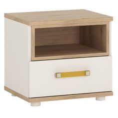 4 Kids 1 Drawer Bedside Cabinet in Light Oak & White High Gloss