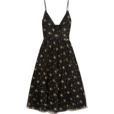 Valentino Glittered embroidered tulle midi dress (80,895 MXN) ❤ liked on Polyvore featuring dresses, valentino, stars, midi dress, polka dot cocktail dress, wrap around dress, embellished cocktail dress and ballet dress