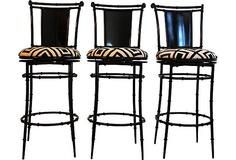 Hollywood Regency Faux Bamboo Barstools.