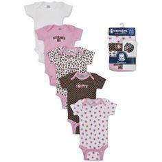 Gerber Newborn Girls'  5- pack bonus variety short sleeve onesies