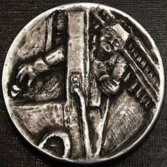 BEN WELLS HOBO NICKEL - RAILROAD ENGINEER - NO DATE BUFFALO NICKEL Hobo Nickel, Coin Art, Rare Coins, Wells, Engineer, Carving, Trains, Buffalo, American