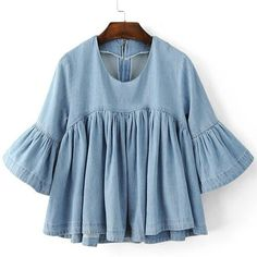 Chic Round Neck Flare Sleeve Flounced Denim Blouse For Women