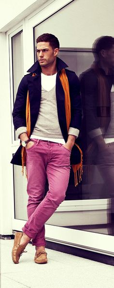 Fashion for men - confidence right there, rocking the pink trousers and being able to pull it off. Try first!