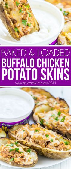 This buffalo chicken stuffed potato skins recipe is one of the best appetizer recipes ever! It's easy, quick to make, and loaded with homemade buffalo chicken filling! And because they're baked and homemade, they're almost even healthy - compared to ones Potato Appetizers, Best Appetizer Recipes, Gluten Free Appetizers, Appetizers For Party, Chicken Appetizers, Christmas Appetizers, Christmas Games, Party Recipes, Meal Recipes