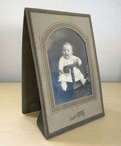 Antique Photograph Baby in Big Chair Embossed Arch Matted Folder 1900 1910 | eBay