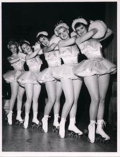 The Copa Girls (on roller skates)  Dunes Hotel, Vintage Las Vegas, 1950s old photo