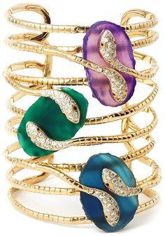 Isharya Peacock Serpent Druzy Statement Cuff bracelet