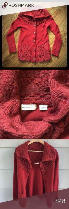 Anthro Sleeping on Snow Red Cardi Sweater Soft and warm, Sleeping on Snow Sweater from Anthropologie. Beautiful deep red for the holidays. Soft WOOL Blend. Size Small, fits 2-4 best, IMO. No issues or pilling. No trades, please. Anthropologie Sweaters Cardigans