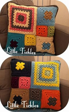 Items similar to Crochet Pillow / cushion cover / colorful bright colors / Mothers day Gift / Granny squares / Grandmother's gift + Free Wall Hanging / Decor on Etsy Cushion Cover Pattern, Crochet Cushion Cover, Crochet Pillow Pattern, Knit Pillow, Crochet Cushions, Granny Square Crochet Pattern, Crochet Patterns, Crochet Blocks, Afghan Patterns