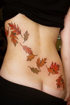 Tumbling oak leaf tattoo by Fil Wood of Black Crown Tattoo in Leeds, UK