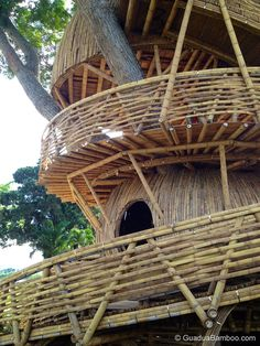 """Bamboo Treehouse. """"Initially I designed the treehouse containing just one floor, but as the clients saw the preliminary drawings, they got more and more excited and asked me to include two more floors."""" — Architect Jaime Peña"""