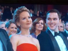 Jennifer Lawrence and Nicholas Hoult at the 86th Annual Academy Awards