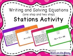 Stations Activity - Writing and Solving One and Two-Step Equations Math Teacher, Math Classroom, Teaching Math, Math 8, Teacher Tips, Teacher Stuff, Teaching Ideas, Classroom Ideas, Math Stations