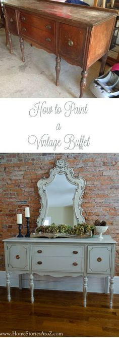 How to paint a vintage buffet - love the after but even love the before with a bit of lovin'! #howtorenewfurnituretips