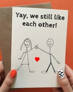 Funny handmade anniversary card, valentines day card for him or her. Don't need it right now? Pin it for later!