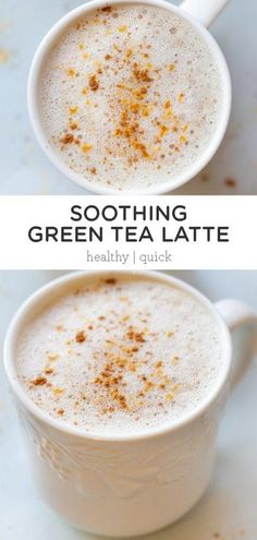 This homemade Green Tea Latte is healthy and so easy to make at home! Made with a tea bag, almond milk, it's ready in just minutes! You're going to love this vegan and gluten-free recipe - even better than Starbucks! Milk Tea Recipes, Green Tea Recipes, Coffee Recipes, Milk Green Tea Recipe, Green Tea Latte Recipe With Tea Bag, Iced Green Tea Latte, Green Tea Coffee, Iced Tea, Yummy Drinks