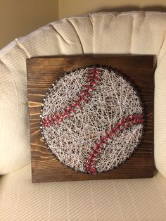Baseball string art (sports, ball, nail, thread) - Order from KiwiStrings on Etsy ( www.KiwiStrings.etsy.com )