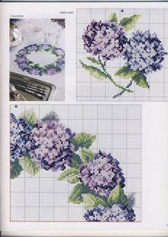 Hydrangea Wreath - top right Cross Stitch Tree, Just Cross Stitch, Cross Stitch Needles, Cross Stitch Flowers, Cross Stitch Charts, Cross Stitch Designs, Cross Stitch Patterns, Cross Stitching, Cross Stitch Embroidery