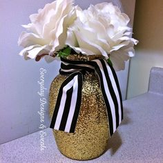 Kate Spade Inspired Decorations! You can even order hot pink ribbons as well! On sale now! 3 Gold Black and White Vases, Bridal shower, Baby shower centerpieces, spade inspired, gold vases, centerpieces, flower vases, glass vase by EverydayDesignEvents on Etsy
