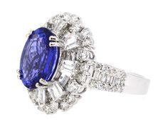 Ring Center Tanzanite 4.12ct. with (82) Round and Baguette Diamonds 2.27ct.tw…