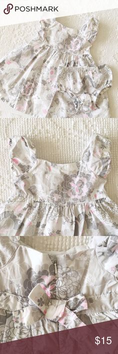 Floral Grey + White Pretty Sunday Best Dress  Size 6 to 12 Months  White, Soft Grey, + Pink  100% Cotton  EUC  by Old Navy  ✨ Price is FIRM ✨ All items from a smoke free home  ✨ Please ask questions prior to purchase Old Navy Dresses