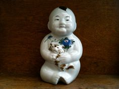 Vintage Chinese Baby with Cat Figurine by EnglishShop on Etsy, $125.00