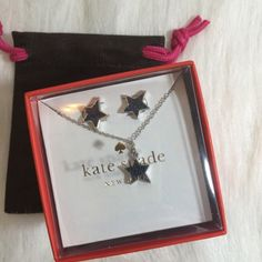 """Kate Spade Navy Twinkle Box Set Kate Spade twinkle twinkle navy boxed earrings and necklace set. 14 karat gold filled posts on earrings. Lobster claw clasp on necklace. Chain length 15"""". Crystals. Silver. kate spade Jewelry Necklaces"""