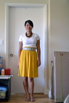 white shirt + bright skirt + wide belt | The New Professional