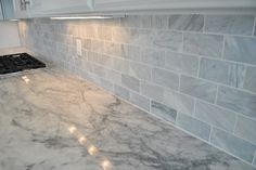 Marble Kitchen Backsplash  |  Brick Pattern  |  49 - Kitchen Design Inspiration | Michael David Design Center