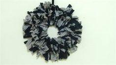 Grey/Black Chevron Rag Wreath - www.maycausememories.net
