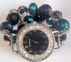Black and Aqua Beaded Watch Band and Face  Chunky by BeadsnTime, $30.00