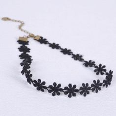 A Set of Lace Choker Black Daisy Flower Collar Necklace+Bracelet Hippy Party -- Awesome products selected by Anna Churchill