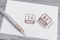 calendar stamp save the date stamp wedding by byhoneysuckle