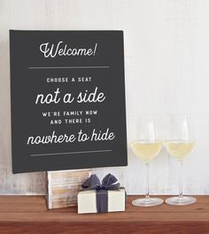 Funny Wedding Seating Sign - Choose a Seat Not a Side - Fun Wedding Sign Canvas - Chalkboard Wedding Sign - Funny Sign Wedding Ceremony Readings, Ceremony Seating, Wedding Seating, Funny Wedding Signs, Wedding Humor, Funny Signs, Trendy Wedding, Unique Weddings, Wedding Trends