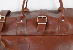Dark Brown Leather Travel Satchel Bag Large Vintage