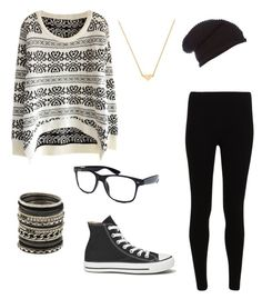 #black #white #chillin #glasses #chucks  by itsjuliexx on Polyvore featuring Mode, Converse, Stella & Bow, ALDO and Label Lab