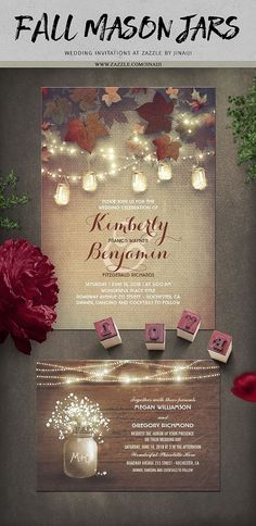 Fall mason jars rustic string lights wedding invitations by Jinaiji #OctoberWeddingIdeas