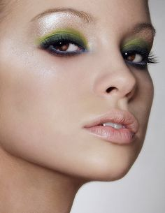 White, green, and blue eyeshadow