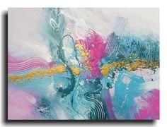 Huge Abstract Turquoise Pink Gold Aqua Modern Fine Art Pastel Original Painting 30 x 40 Skye Taylor Artist via Etsy