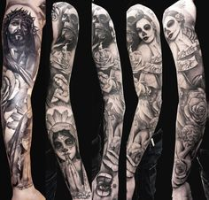 A full sleeve tattoo is usually intricate from shoulder to wrist. Unlike small tattoos on the part of the arm, the whole arm is the canvas for the tattoo. Sleeve Tattoos Tumblr, Arm Sleeve Tattoos, Tattoos Skull, Tattoo Sleeve Designs, Tribal Tattoos, Tattoo Ink, Tattoo Drawings, Forearm Sleeve, Wing Tattoos
