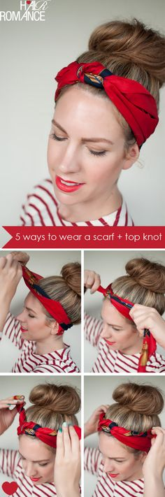 ways to wear a scarf and a top knot - Knot Headband