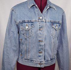 Levis Denim Trucker Jacket Blue Jean Womens Size M Button Up Cotton USA Made #Levis #Trucker
