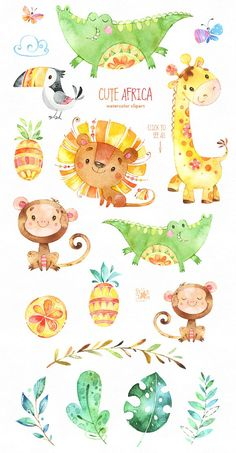 Collection of Cute Africans Animals! This Watercolor Collection of cute Animals and Florals included Characters, Floral Elements, Fruits, Leaves and more. Cute Illustration, Watercolor Illustration, Watercolor Paintings, Disney Illustration, Animal Drawings, Cute Drawings, Save Animals Drawing, Art Nouveau Disney, Party Poster