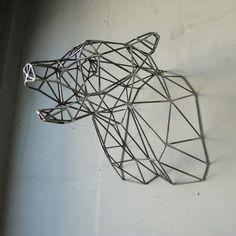 Bear Head by Wyatt Studio. I love faux taxidermy. Sculptures Sur Fil, Wall Sculptures, Sculpture Art, Steel Sculpture, Do It Yourself Baby, Bear Head, Man Cave Home Bar, Faux Taxidermy, Toy Art