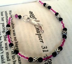 Show Charm Pink and Black Beaded Bookmark With Crystal Accents $10